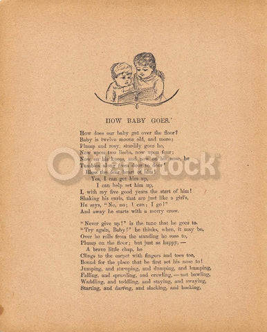 Cute Baby's First Crawling Poem Antique Graphic Illustration Print 1902