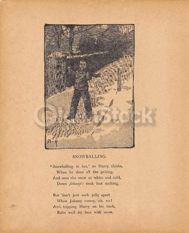 Cute Little Boy Throwing Snowballs Poem Antique Nursery Decoration Print 1902