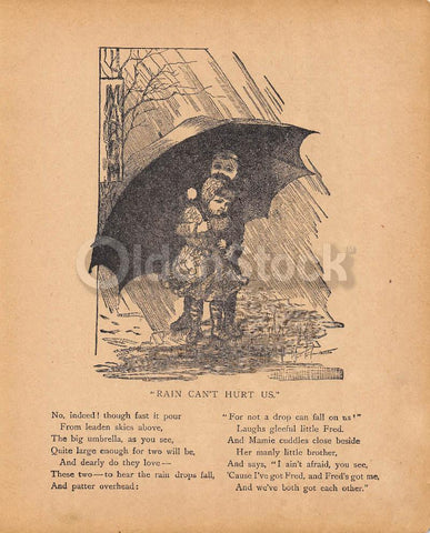Protective Brother & Sister Playing in the Rain Antique Nursery Decoration Print 1902