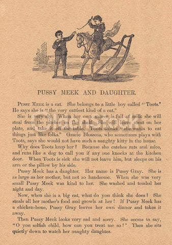 Cute Little Girl & Her Pussy Cat Antique Nursery Rhyme Print 1902