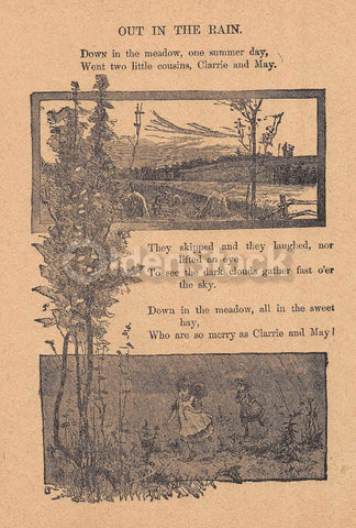 Cute Little Cousins Playing in the Rain Poem Antique Nursery Rhyme Print 1902