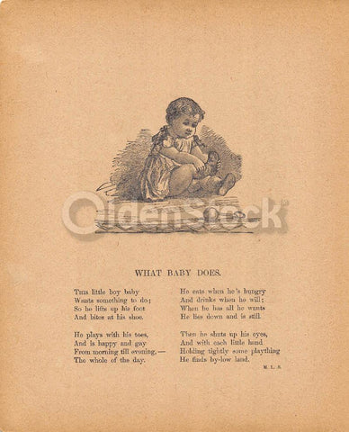 Cute Little Baby Playing with Shoes Poem Antique Nursery Rhyme Print 1902