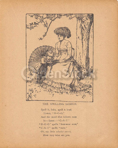 Mother & Child Spelling Lesson Cute Antique Nursery Rhyme Print 1902