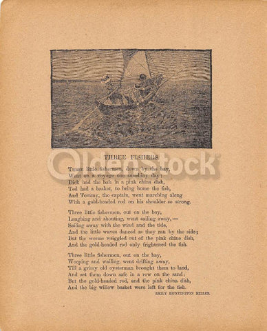 Three Fishers Poem by Emily Huntington Miller Antique Nursery Rhyme Print 1902