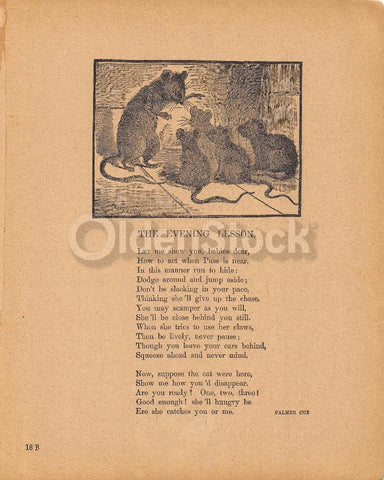 Wise Old Mouse & Baby Mice Poem Antique Nursery Rhyme Print 1902