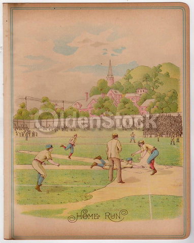 Home Run! Early American Baseball Game Antique Chromolithograph Print 10.5x13.5""