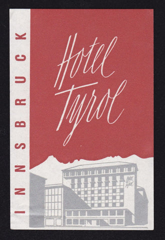 Hotel Tyrol Innsbruck Austria Vintage Graphic Advertising Luggage Tag Sticker