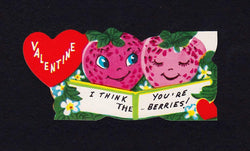 I Think You're The Berries! Cute Strawberries Vintage Valentine's Day Greeting Card
