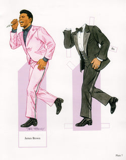 James Brown Funk Music Legend Illustrated Paper Doll Cut-Out Print