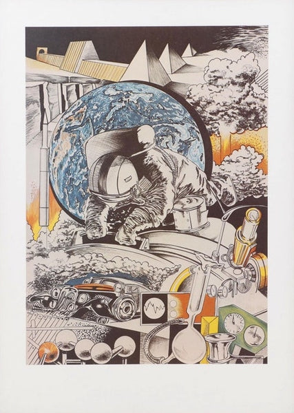 Siegfried Reinhardt Space Astronaut Pyramids Atomic Bombs Science Art Poster