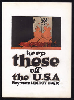 Keep German Boots Off US Soil Vintage WWI Military Propaganda Poster Print