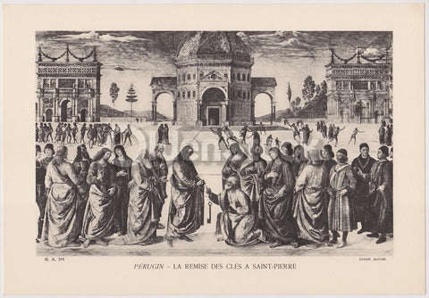 La Remise Des Cles A Saint Pierre Artwork By Perugin Vintage Graphic
