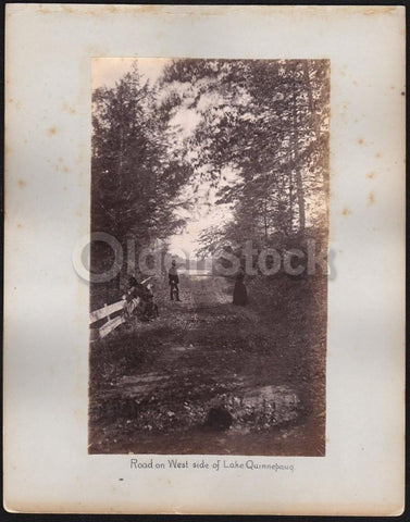 Lake Quonnipaug CT Victorian Couples Leaf Peeping Fine Antique Photographs