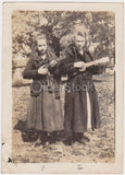 Lovely Young Girls Playing Ukulele Guitars Antique Snapshot Photograph