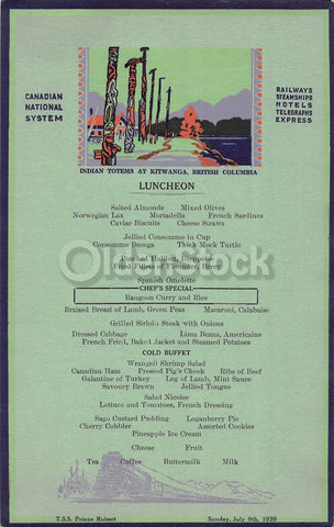 Canadian National Steamship TSS Prince Robert Antique Graphic Art Lunch Menu