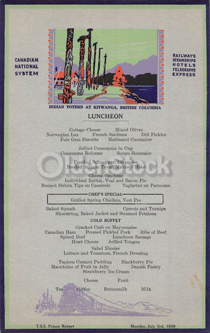 Kitwanga Indian Totems Canadian National Steamships Antique Graphic Art Lunch Menu