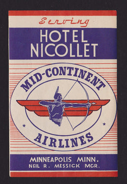 Mid-Continent Airlines Hotel Nicollet Vintage Graphic Advertising Luggage Sticker Decal