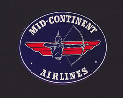 Mid-Continent Airlines Vintage Native American Indian Graphic Advertising Luggage Sticker Decal