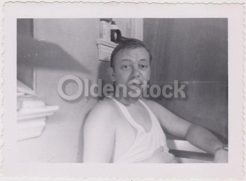 Middle Age Man at Home in Apartment Vintage Artistic Snapshot Photograph