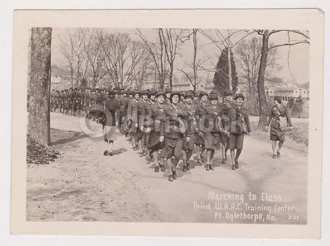 Military Women Marching at WAC Training Center Fort Oglethorpe Georgia Vintage W