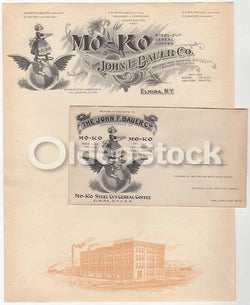 Mo-Ko Steel Cut Cereal Coffee Elmira New York Antique Graphic Advertising Stationery Letterhead