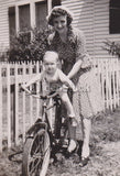 Mom and Baby Boy Riding an Old Bicycle Vintage Family Snapshot Photo