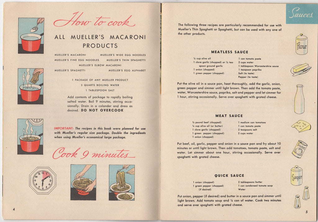 Mueller's Macaroni Spaghetti Products Vintage Graphic Advertising  Illustrated Cookbook 1945