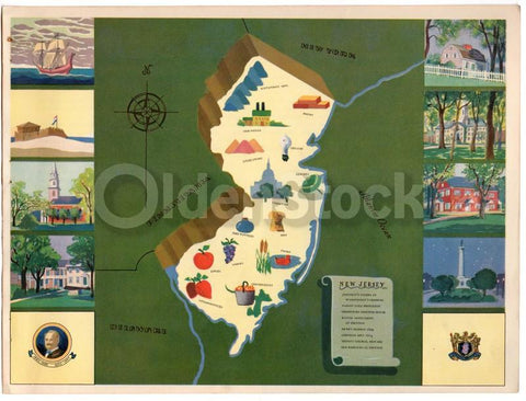 New Jersey State Vintage Graphic Art School Map of Virginia New Jersey