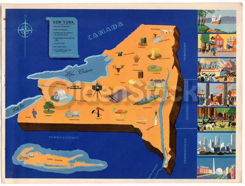 New York State Vintage Graphic Art Illustrated School Map of New York 1939