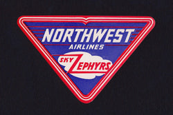 Northwest Airlines Sky Zephyrs Vintage Graphic Advertising Luggage Sticker Decal