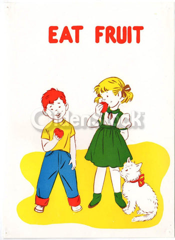 Little Boy & Girl Eating Apples Vintage Nutritional Health Education Poster