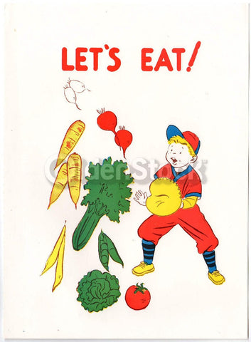 Boy Baseball Catcher & Vegetables Vintage Health Education Poster