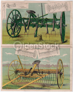 Thomas Farm Machinery Hay Rakes Antique Graphic Lithograph Advertising Poster
