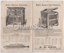 Reid's Creamery Dairy Equipment Antique Engraving Advertising Price List Poster