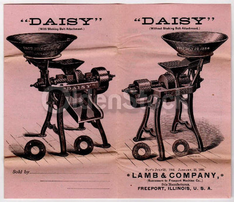 Lamb & Company Illinois Daisy Mill Grinder Antique Engraving Advertising Flyer