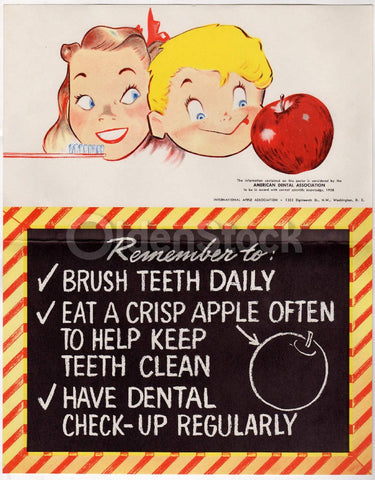 Brush Your Teeth Daily Vintage 1950s Graphic Art Dental Association Poster