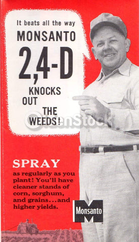Monsanto 2,4-D Agent Orange Chemical Spray Vintage 1940s Graphic Advertising Flyer