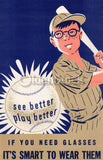 American Baseball Vintage Eye Doctor's Office Graphic Art Optometry PSA Poster