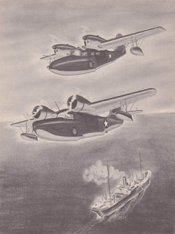Widgeon & Goose Grumann J4F-1 JRF-3 Sea Planes Military Aircraft Vintage WWII Illustration Print 1944