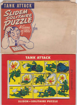 Tank Attack Slidem Vintage Patriotic WWII Graphic Cartoon Solitaire Puzzle Game