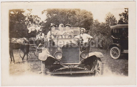 Old Ford Model T Car out in the Family Jalopy Antique Snapshot Photograph