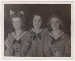 Patriotic Girls in Cute Military Outfits Vintage WWII Americana Snapshot Photograph
