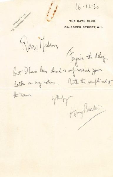 The Bath Club London Sports Club Antique Autograph Signed Letter 1930