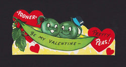 Pretty Peas Be My Valentine Cute Vintage Valentine's Day Greeting Card