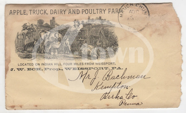 Apple Dairy Poultry Farm Weissport Pa Antique Graphic Advertising Mail Cover