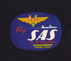 Scandinavian Airline Systems SAS Vintage Graphic Advertising Luggage Sticker Decal