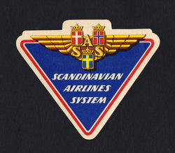 Scandinavian Airlines System Vintage SAS Graphic Advertising Luggage Sticker Decal