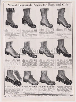 Sears Victorian Boys & Girls Leather Shoes Designs Antique Graphic Advertising Flyer Print
