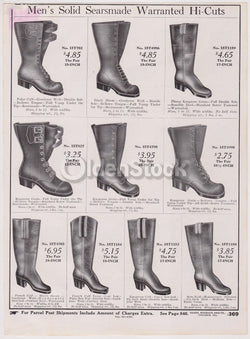 Sears Victorian Men's Cowboy Boots Sears Roebuck Designs Antique Graphic Advertising Print