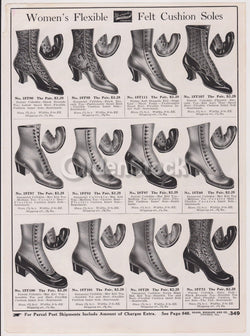 Sears Victorian Women's Heeled Boots & Shoes Designs Antique Graphic Advertising Flyer Print